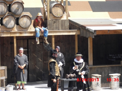 "Judge, Jury and Executioner this show is put on each day and they ""put to justice"" the Npc's of the faire."